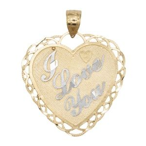 14k Solid Two-tone Gold Heart Pendant